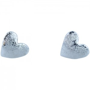 Brushed Silver Heart Studs