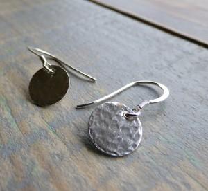 Circular silver earrings