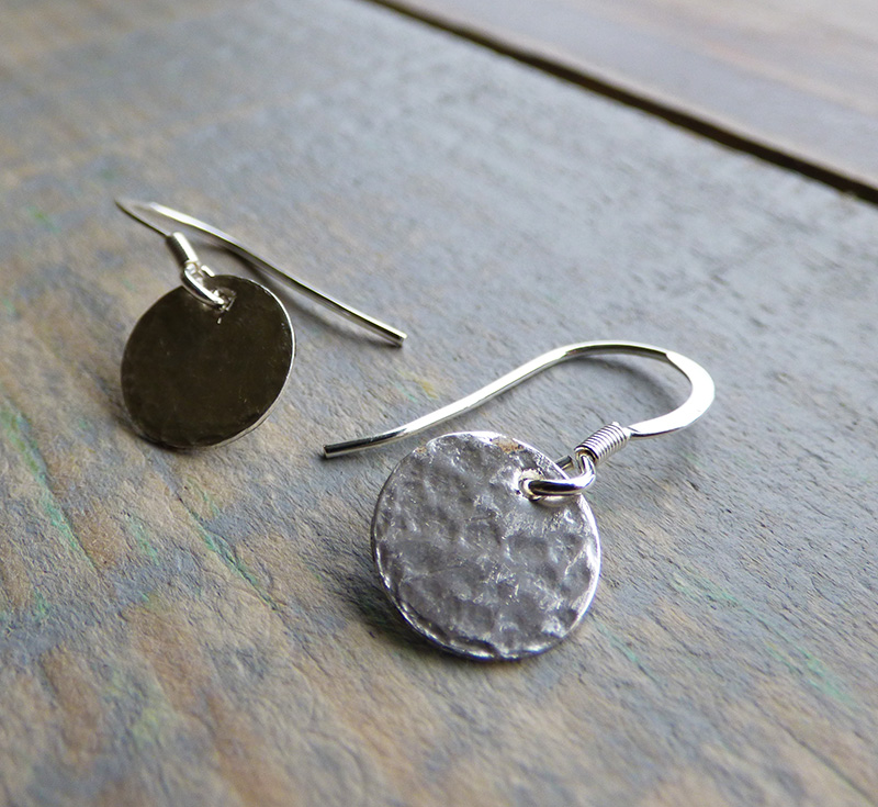 Circular silver earrings