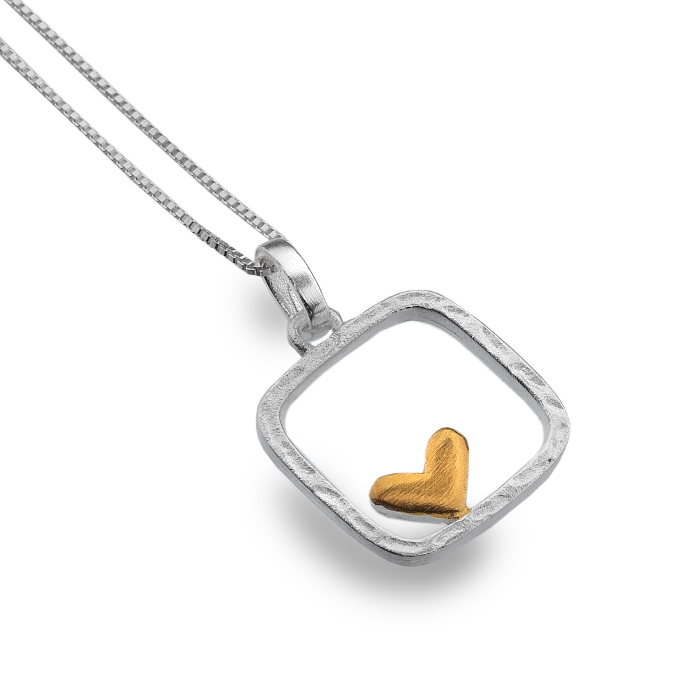 Silver heart framed pendant